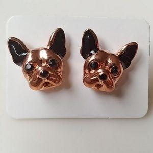 🆕 French Bulldog Copper/Black Small Stud Earrings